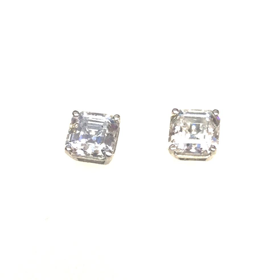 cee99bed6c4c0 Sterling Silver 6mm Asscher Cut CZ Stud Earrings
