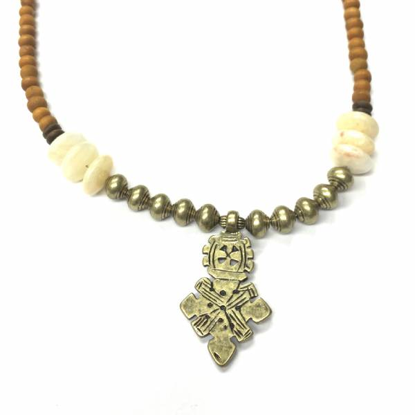 Wooden Bead 29coptic Cross Necklace